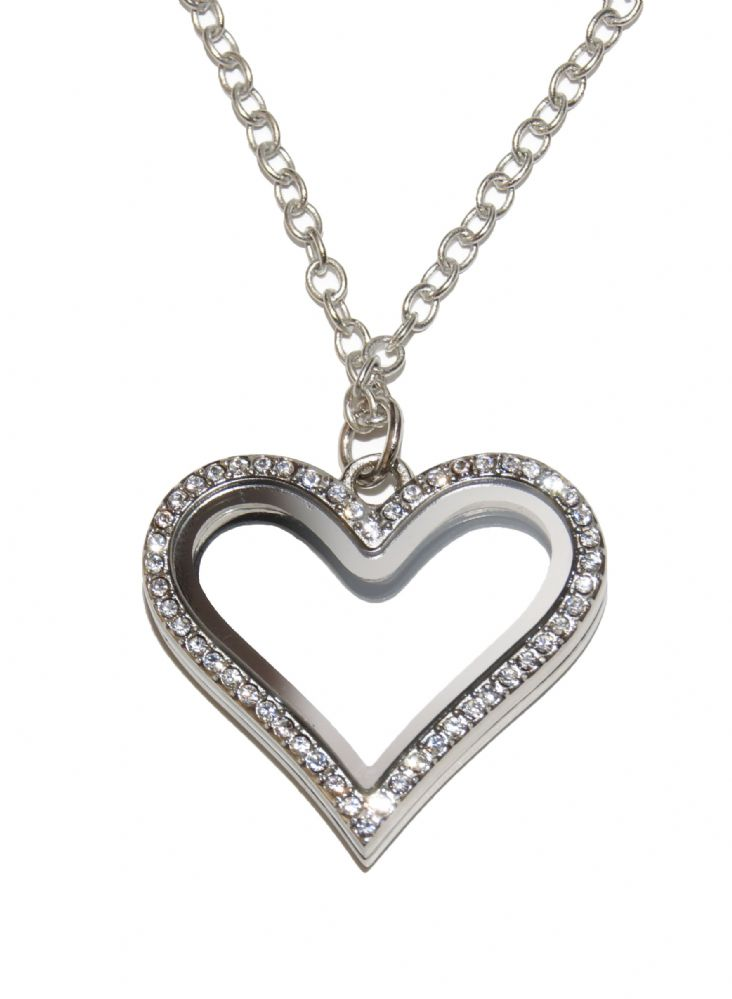 30mm Heart crystal floating charm glass locket with chain