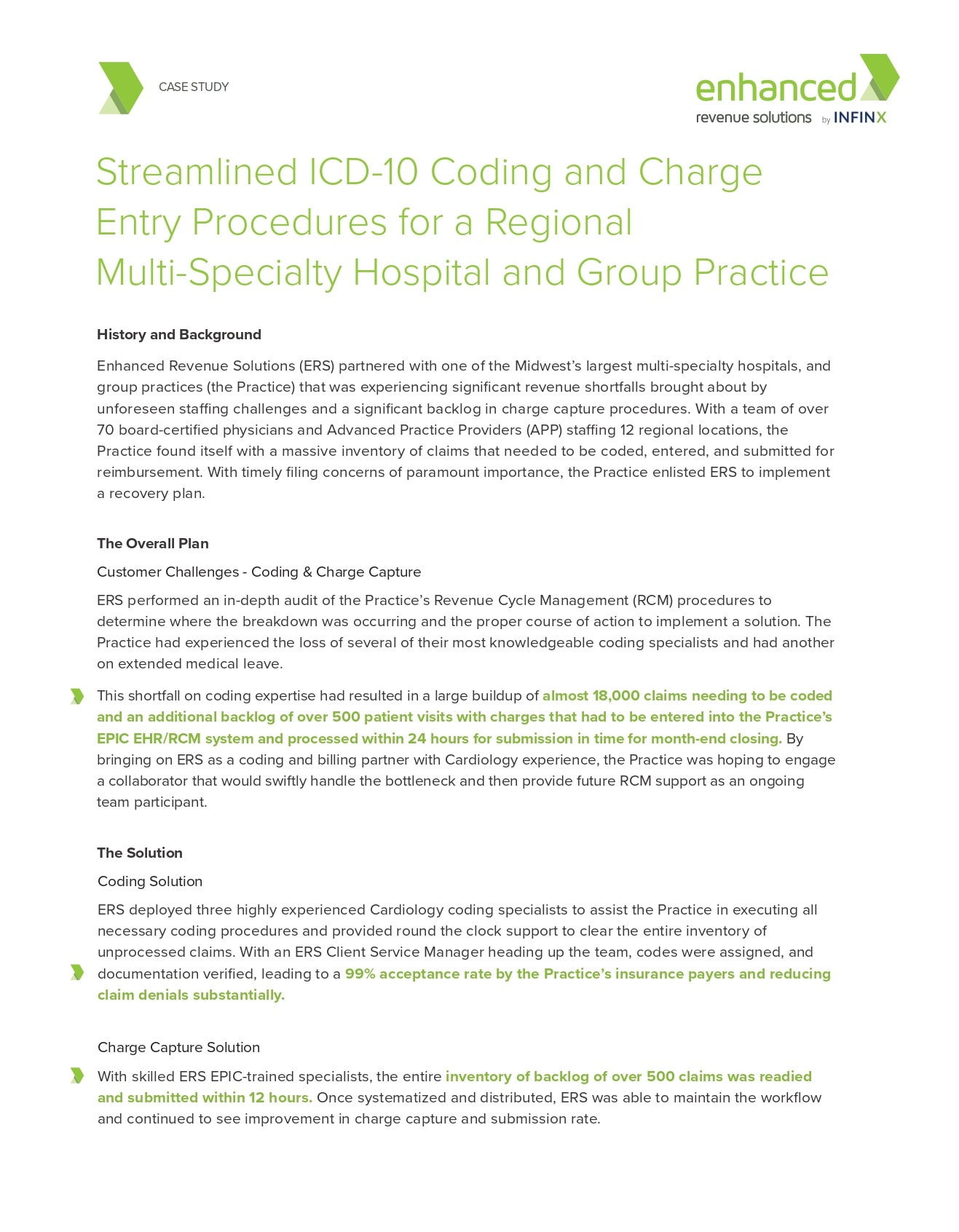 Streamlined Icd 10 Coding And Charge Entry Procedures For