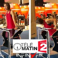 L'infinyFit présenté par Julie Ferrez sur le plateau de Télé Matin le 25 mars 2017 à la suite du sujet sur le salon BodyFitness 2017