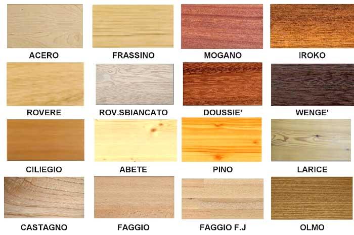 Tipologie essenze legnose: Pino, castagno, abete, larice, faggio, ciliegio...