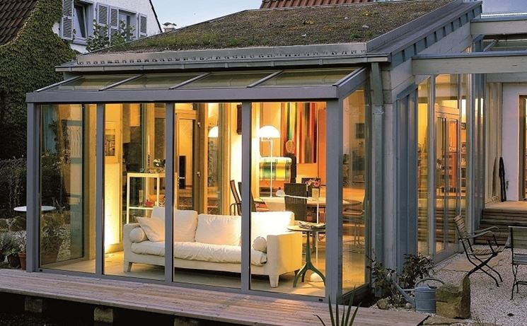 progetto veranda esterna in alluminio