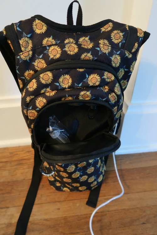 backpack showing the inside of the front 2 pockets