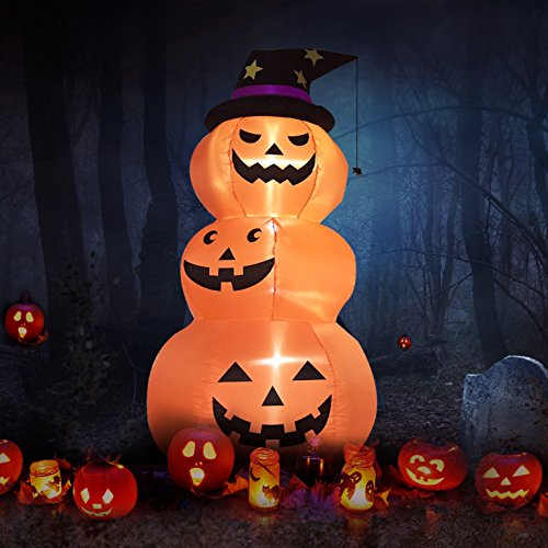 halloween 8 feet 3 pumpkin men inflatable lighted blow up yard party decoration by fashionlite