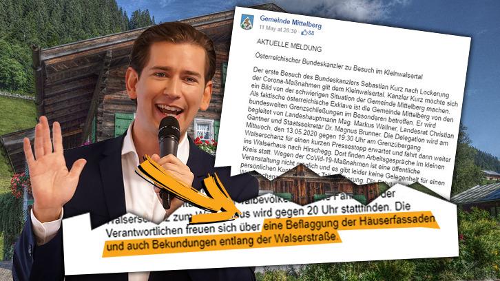 In der Gemeinde Mittelberg wurde anlässlich des Kurz-Besuchs dazu aufgerufen, die Häuserfassaden zu schmücken und zu Jubeln.