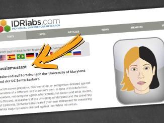 Auf der Seite IDRlabs kann sich jeder zum Rassisten zertifizieren lassen.