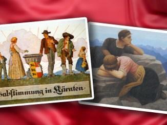 """Bilder: Postkarte zur Kärntner Volksabstimmung aus dem Jahr 1920; Gemälde """"Verlorene Heimat - Südtirol"""" von Thomas Walch, das erstmals 1920 in München ausgestellt wurde."""