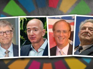 Bilder: Wäre persönlicher Reichtum und das Wachstum von Konzernen beschränkt, hätten Menschen wie Bill Gates (Microsoft), Jeff Bezos (Amazon), Larry Fink (BlackRock) und George Soros (Börsenspekulant) weniger Einfluss auf das globale Geschehen und einzelne Länder. Festzuhalten ist hier, dass diese Personen zwar großen Einfluss auf das gesellschaftliche Zusammenleben nehmen, aber weder sie noch die von ihnen unterstützten NGOs demokratisch legitimiert sind.