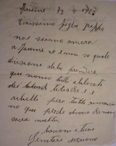 Lettera da Fiume 17 settembre 19