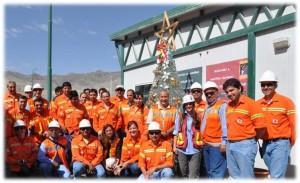 Trabajadores de Minera Alumbrera junto al árbol navideño