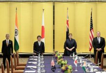 Indian Foreign Minister Subrahmanyam Jaishankar, Japan's Foreign Minister Toshimitsu Motegi, Australia's Foreign Minister Marise Payne and U.S. Secretary of State Mike Pompeo pose for a picture prior the Quad ministerial meeting in Tokyo, Japan, 6 October 2020 (Photo: Reuters/Kiyoshi Ota).