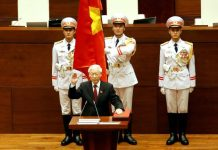 Vietnam's Communist Party General Secretary Nguyen Phu Trong takes his oath of office after being elected as Vietnam's State President during a National Assembly session in Hanoi, Vietnam 23 October, 2018 (Photo: Reuters/Kham/File Photo).