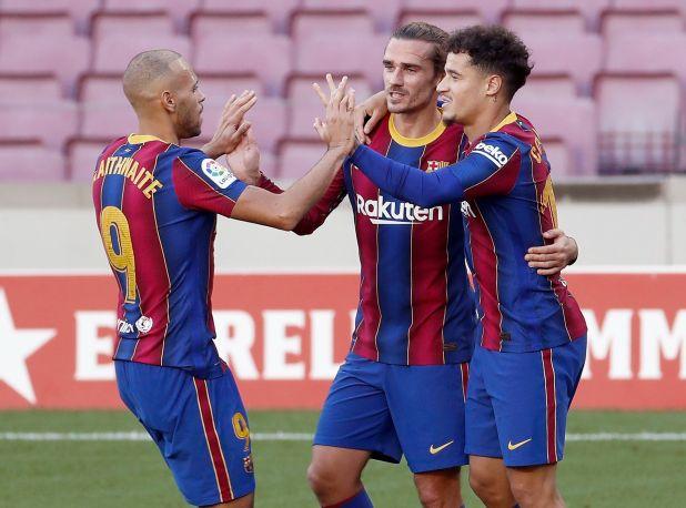 Luis Suárez tiene más goles que Braithwaite, Griezmann y Dembélé juntos (Reuters)