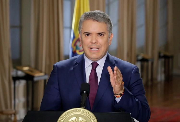 El presidente de Colombia Ivan Duque durante una alocución en el Palacio de Nariño (Presidencia Colombia via REUTERS)