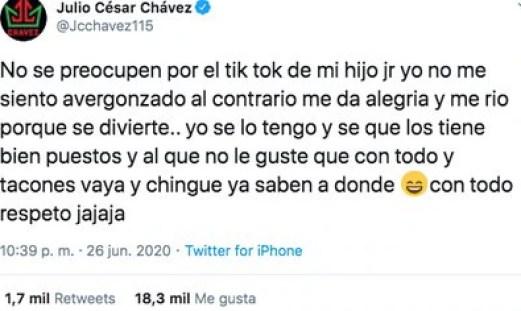 Así respondió Julio César Chavez sobre el Tik Tok de su hijo. (Foto: Captura de pantalla)