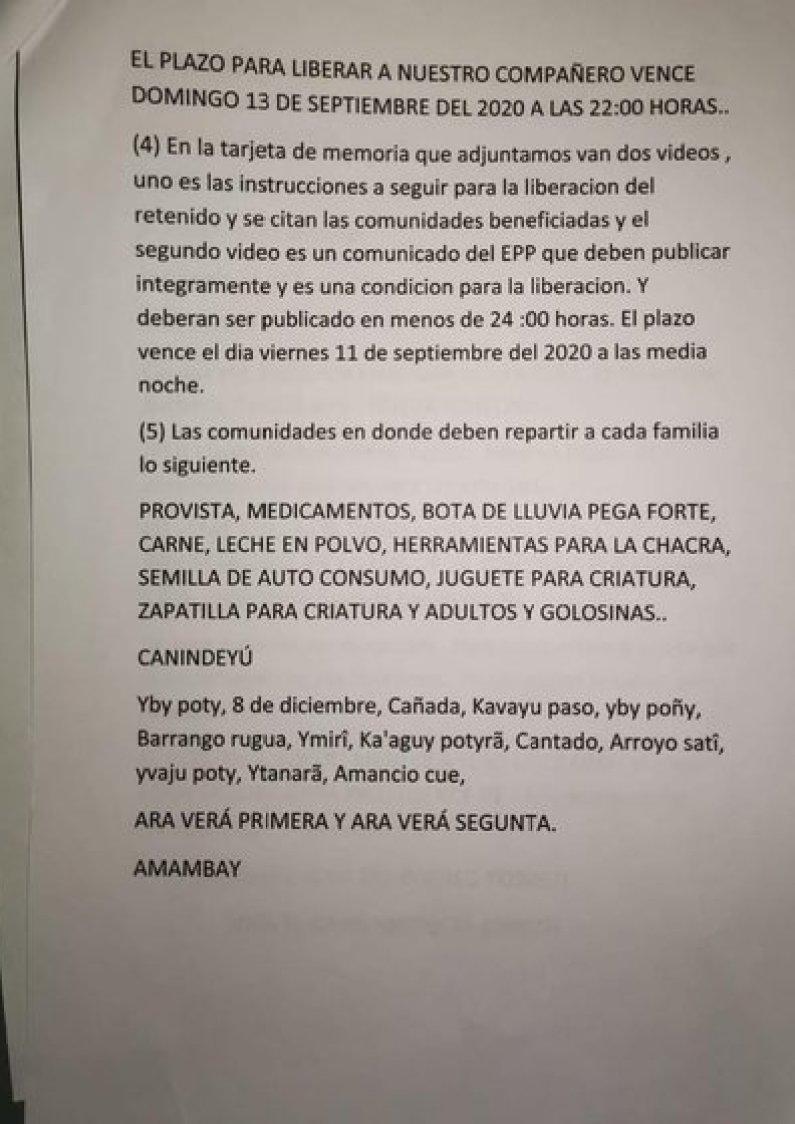 Segunda parte de las exigencias para la liberación de Oscar Denis