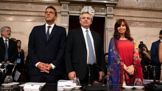 Sergio Massa, Alberto Fernández y Cristina Kirchner (Foto: Adrián Escandar)