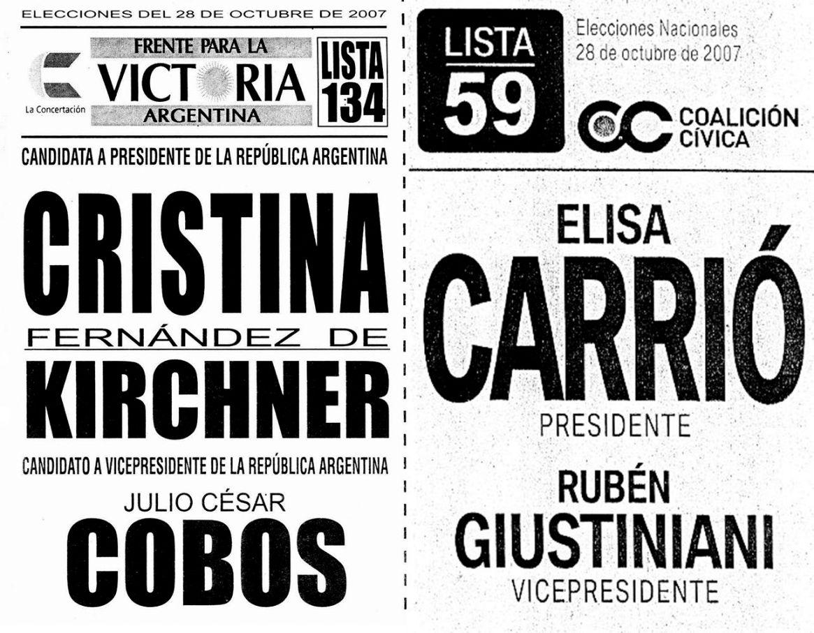 Las boletas de la elección del 2007