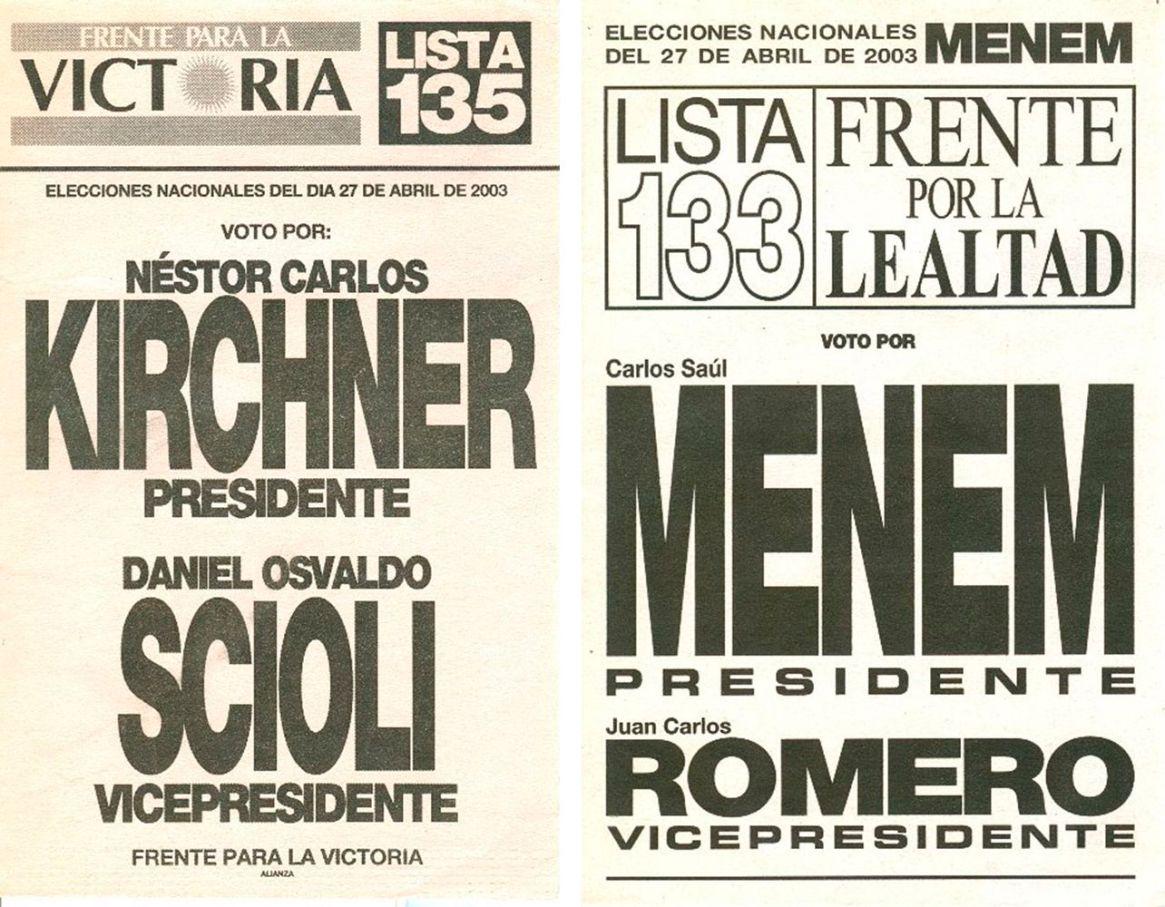 Las boletas de las elecciones post crisis del 2001