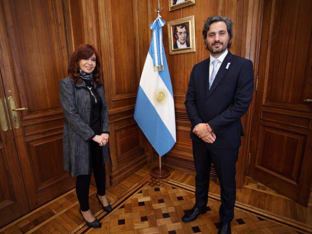 Santiago Cafiero con Cristina Kirchner en el Senado