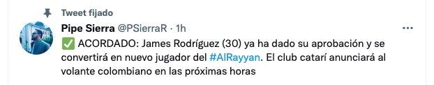 Felipe Sierra confirmed the signing of James Rodríguez in Qatar.  Screenshot
