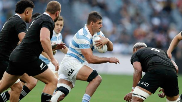 Argentina's Pablo Matera makes a run at the defence during the Tri-Nations rugby test between Argentina and New Zealand at Bankwest Stadium, Sydney, Australia, Saturday, Nov.14, 2020. (AP Photo/Rick Rycroft)