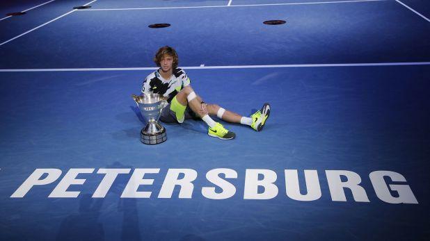 Andrei Rublev en la final del ATP 500 de San Petersburgo