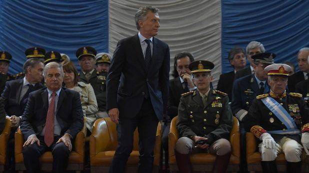 Mauricio Macri en la ceremonia por el 150° aniversario del Colegio Militar (Maximiliano Luna)