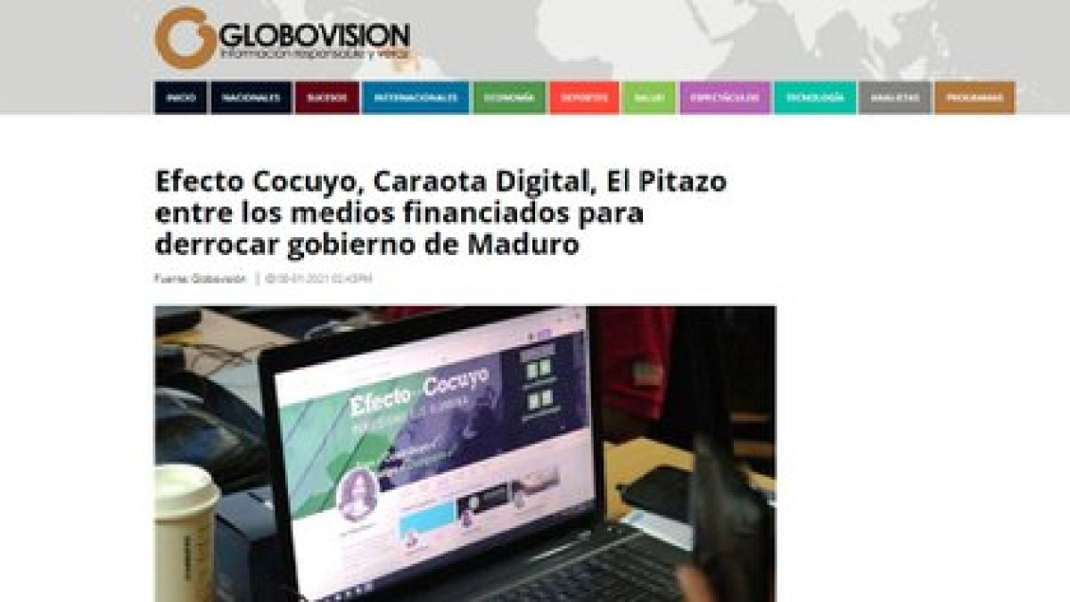 El artículo de la cadena chavista Globovisión