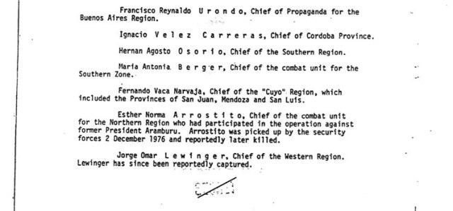La lista de los jefes de la organización en el informe de la Central de Inteligencia