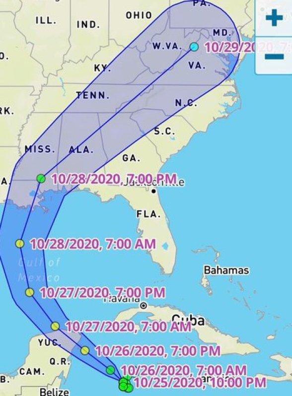 Trayectoria tormenta tropical Zeta para las próximas horas (Foto: Twitter/@CalorsJoaquin)