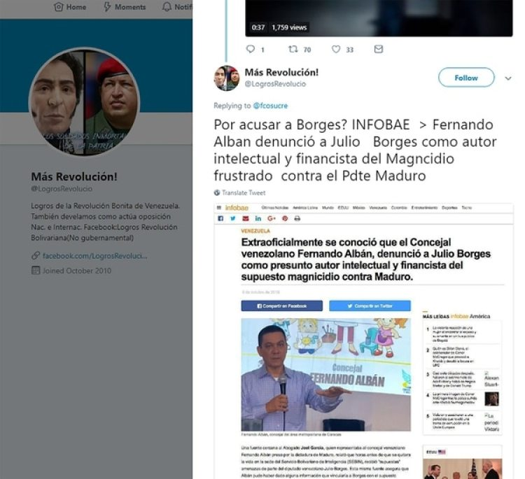 """La cuenta """"Logros de la Revolución Bonita de Venezuela"""" también replicó la noticia falsa"""