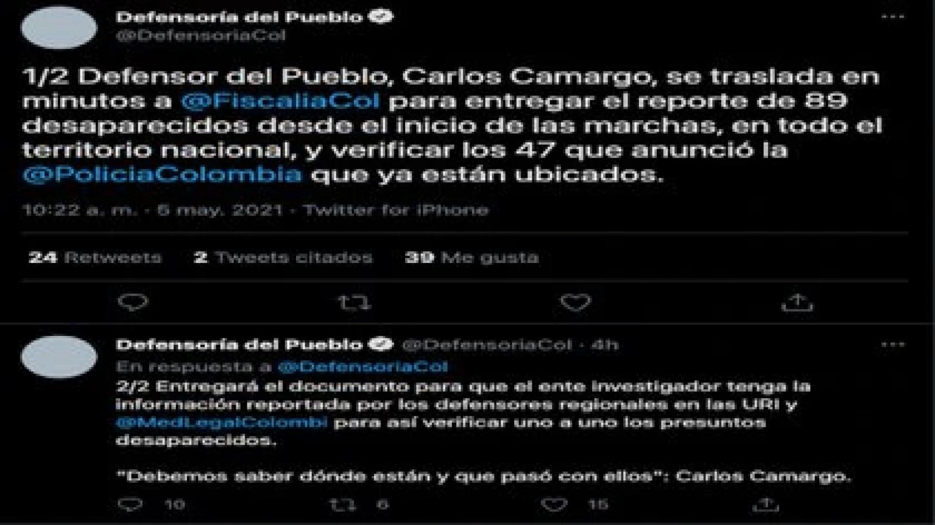 Balance de desapariciones en Colombia por la Defensoría d el Pueblo, miércoles 5 de mayo de 2021 / (Twitter: @DefensoriaCol).