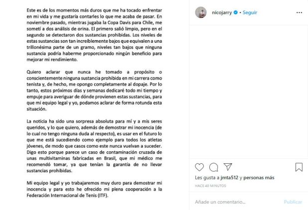 El descargo de Nicolás Jarry en su cuenta de Instagram