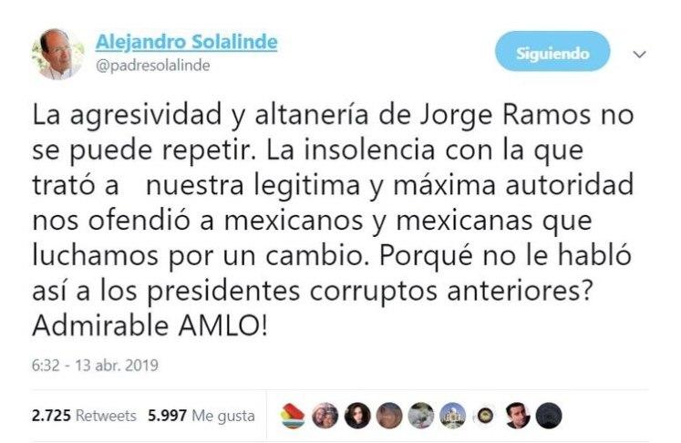 """En su breve mensaje, Solalinde se refirió a López Obrador como """"legítima y máxima autoridad"""", así como """"Admirable AMLO"""" (Foto: Twitter)"""