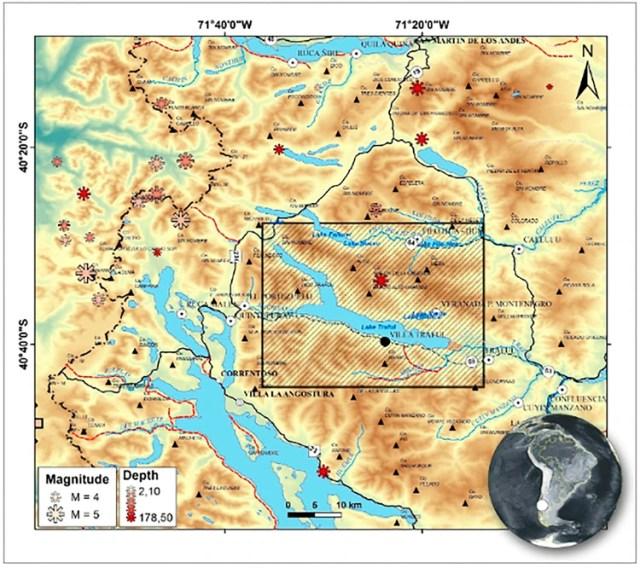 En el recuadro se encuentra la zona analizada en el estudio. Los asteriscos representan la profundidad y la magnitud de la actividad sísmica en cada punto