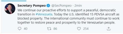 El tuit de Pompeo
