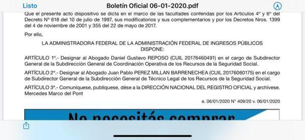 El acto administrativo de la designación de Daniel Reposo en la AFIP