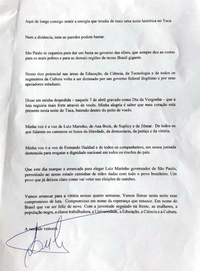 La carta de Lula