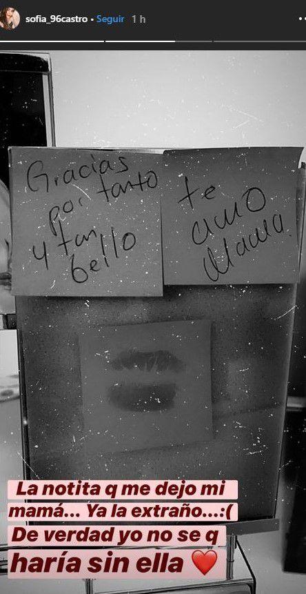 La nota que le dejo Angélica Rivera a Sofía Castro (Foto: Instagram @sofia_96castro)
