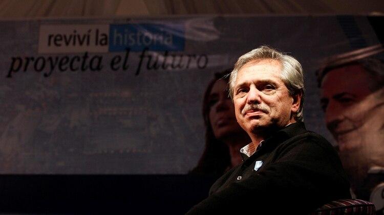 Alberto Fernández durante el acto que encabezó en Santa Cruz