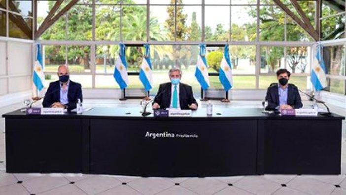 El presidente Alberto-Fernandez junto al gobernador bonaerense Axel Kicillof y el jefe de Gobierno porteño, Horacio Rodríguez Larreta (Presidencia)