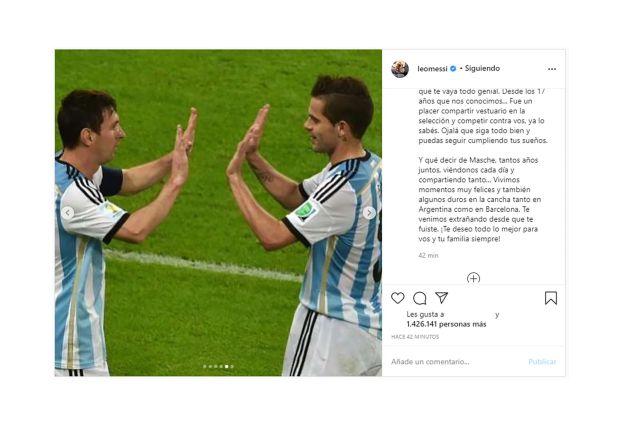 Leo Messi se despide de Masche y Gago