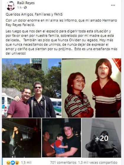 Este fue el mensaje de su hermano Raúl en el que se despidió de Ray Reyes (Foto: Facebook/Raúl Reyes)