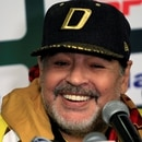 Maradona se mostró optimista a su llegada a Ciudad de México (Foto: Reuters)