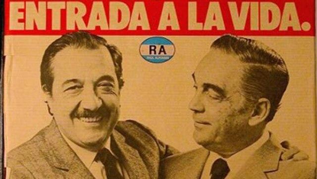 Raúl Alfonsín y Víctor Martínez