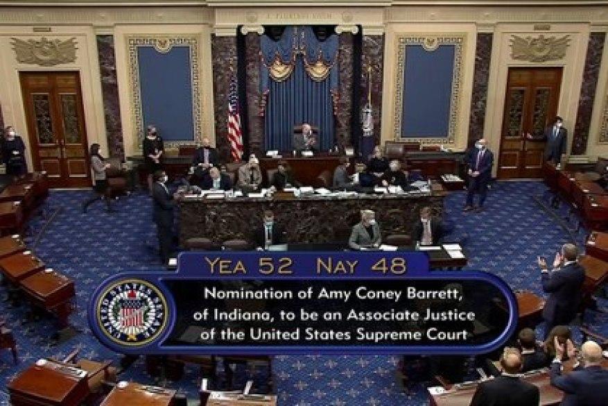 Photo du résultat final du vote du Sénat sur la confirmation d'Amy Coney Barrett comme juge à la Cour suprême.