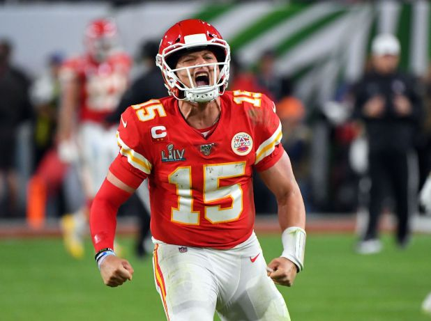 El alocado festejo de Mahomes (Robert Deutsch-USA TODAY Sports)