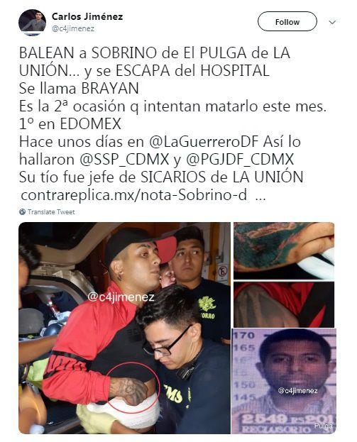 """""""El Brayan"""" es sobrino del ex líder de sicarios de la Unión Tepito """"La Pulga"""" (Foto: Twitter – @c4jimenez)"""