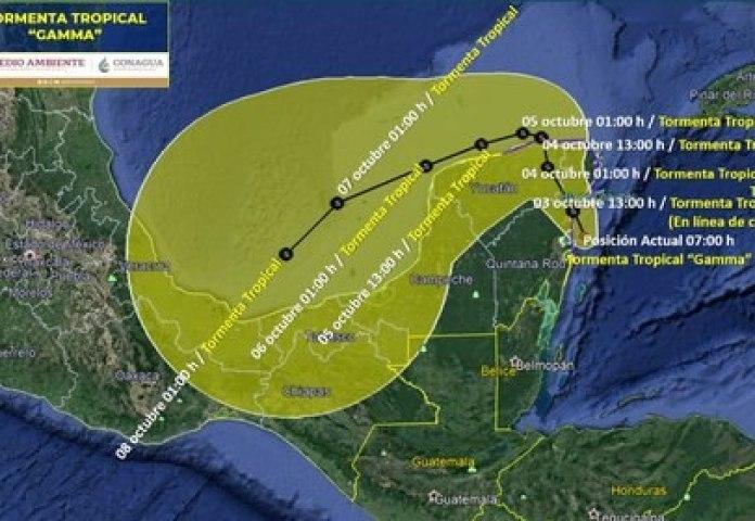 Esta será la trayectoria de Gamma los próximos días y los estados por donde  pasará - Infobae