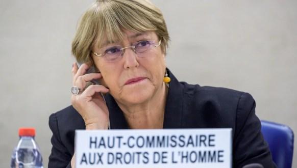 La Comisionada para los Derechos Humanos de la ONU, Michelle Bachelet (Photo by FABRICE COFFRINI / AFP)